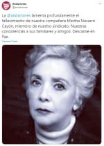 Muere actriz Martha Navarro, Josefina Echánove