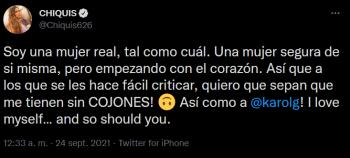 """""""Soy una mujer segura de sí misma""""; Tras ser duramente criticada por su vestido, Chiquis Rivera manda un contundente mensaje"""