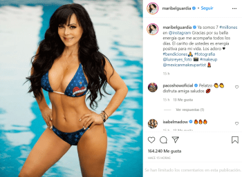 Maribel Guardia celebra millones de seguidores en candente bikini