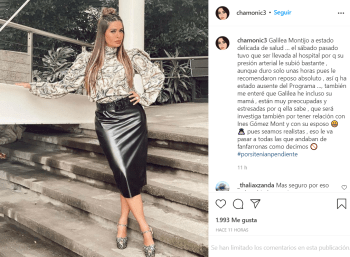 His pressure rose;  They assure that Galilea Montijo is in delicate health