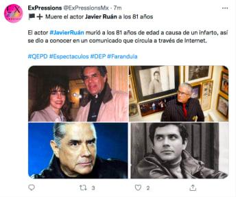 Javier Ruán muere actor de telenovelas