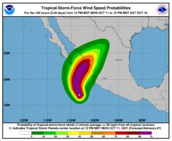 Tormenta Pamela se acerca por el Pacífico y amenaza las costas de México