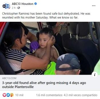 Encuentran al niño hispano desaparecido Christopher Ramírez