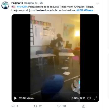 Discusión alumno y atacante tiroteo Texas videos