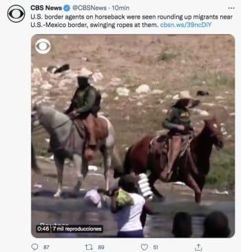 Aparecen fotos de la Migra a caballo 'cazando' haitianos en la frontera