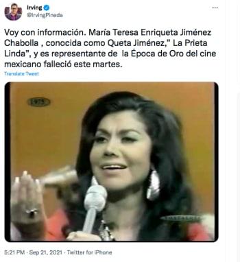 La Prieta Linda muere