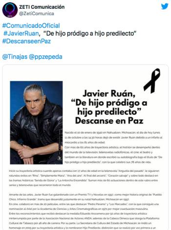 Actor de telenovelas Javier Ruán muere