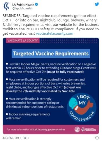 Los Ángeles requerirá prueba de vacuna para entrar a tiendas y restaurantes