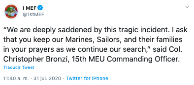 Muere marine y desaparecen ocho durante un entrenamiento en California