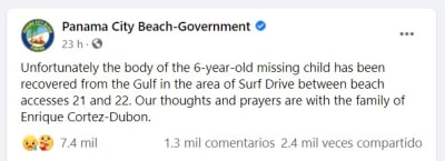 Miles envían condolencias y se solidarizan con familia de Enrique Cortez Dubon, niño ahogado en Panama City