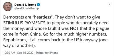 Segundo cheque Trump demócratas: Los culpa de que nunca llegue