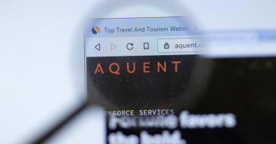 Aquent aquent.com company website with logo close up, Illustrative Editorial.