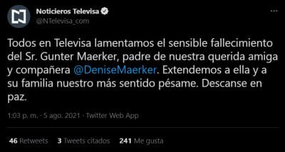 Fallece el padre de la periodista Denise Maerker