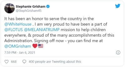 Stephanie Grisham, jefa de gabinete de Melania Trump, renuncia tras protestas en Washington