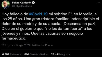 Felipe Calderón's nephew dies