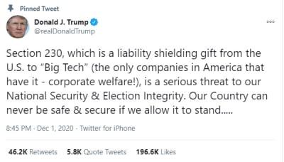 Section 230: Amenaza Donald Trump con vetar iniciativa por protección a redes
