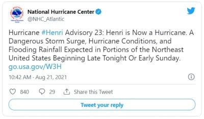 Henri se convierte en huracán y amenaza la costa noroeste de EEUU; Grace ya deja víctimas