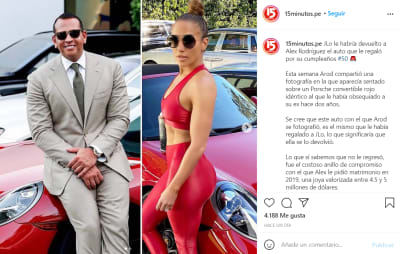 Jennifer López le devuelve el costoso regalo a Alex Rodríguez