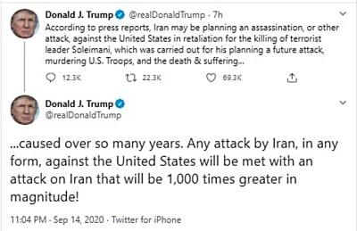 """Trump amenaza a Irán con ataque """"mil veces"""" mayor si agrede a EE.UU."""