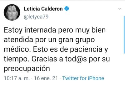 El revelador mensaje de Leticia Calderón antes de ser hospitalizada por coronavirus