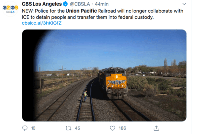 Policía Union Pacific, ICE, inmigrantes (Twitter)