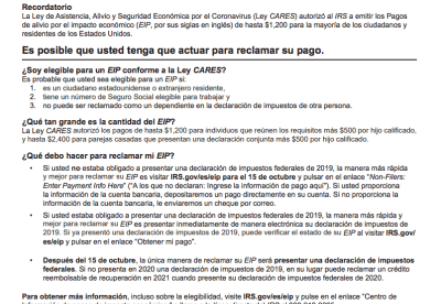carta IRS cheques
