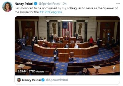 Nancy Pelosi reelegida presidenta, Cámara de Representantes