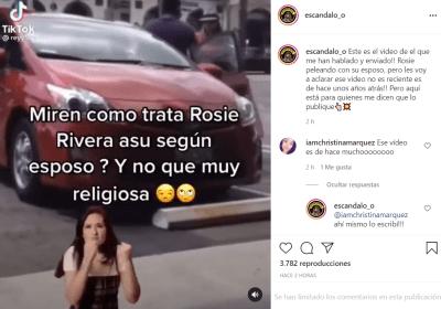 Rosie Rivera le recrimina a su esposo en pleno estacionamiento