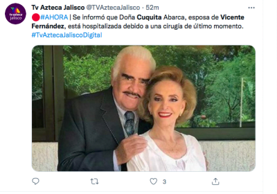 Vicente Fernández hospitalized and now Mrs. Cuquita
