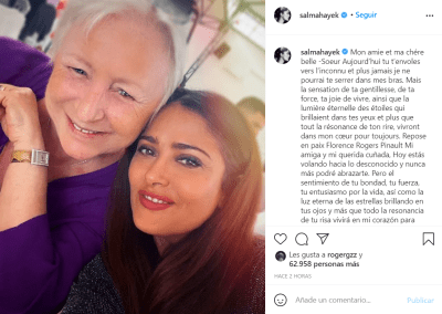 He says goodbye to his sister-in-law; Salma Hayek mourning the death of a loved one