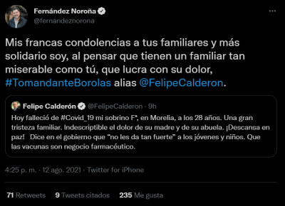 Ñoroña regrets the death of Felipe Calderón's nephew