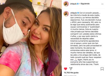 Chiquis Rivera, hija de Jenni Rivera anuncia divorcio de Lorenzo Méndez (Instagram)
