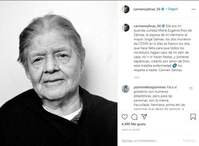 Carmen Salinas hermano coronavirus 2 cuñada María Eugenia