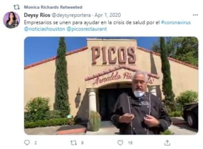 Restaurante Picos Texas, mascarillas, mexicano, Houston
