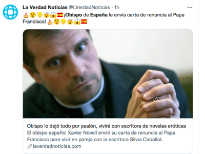 Writer of erotic novels pairs with Bishop of Spain