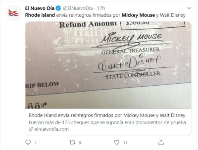 cheque Mickey Mouse