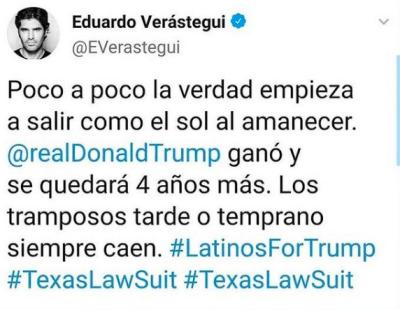 Eduardo Verástegui dice que Trump se quedará 4 años más (Instagram)