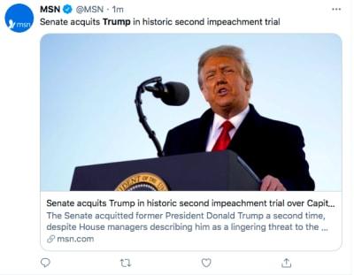 Trump impeachment juicio político absuelven (Twitter)