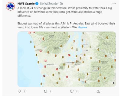 Altas temperaturas Estados Unidos: Washington