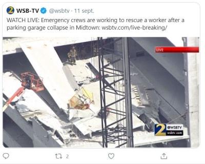 colapso estacionamiento Atlanta
