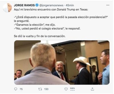 Jorge Ramos se vuelve a encontrar con Donald Trump en Texas
