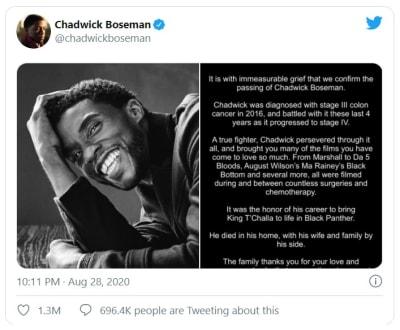 Chadwick Boseman, estrella de Black Panther muere de cáncer a los 43 años
