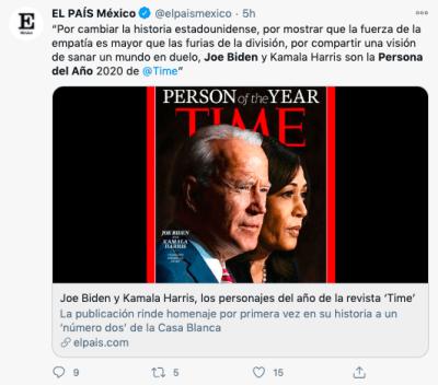 Biden persona del año junto a Kamala Harris, según revista Times