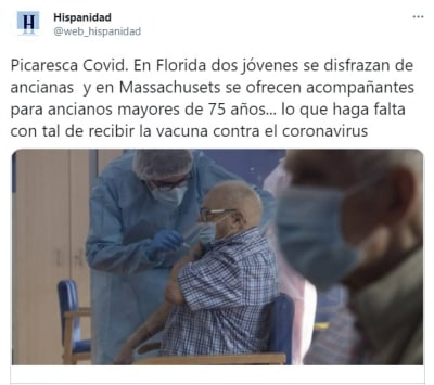 Mujeres disfrazadas vacuna coronavirus 3