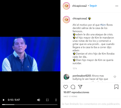 It was for his children; The reason why Edwin Luna removed Kimberly Flores from La Casa de los Famosos is revealed