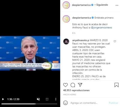 Jorge Ramos vacuna coronavirus Anthony Fauci 2