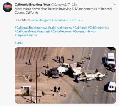 Accidente El Centro California, camioneta SUV