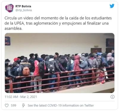 Estudiantes caen del cuarto piso tras desprenderse el barandal