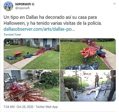 Macabra decoración de Halloween alarma a la policía (VIDEO y FOTOS)