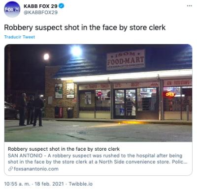Ladrón recibe disparo en la cara por parte de cajero de tienda